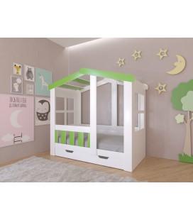 кровать Астра домик с ящиком белый / салатовый