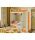 двухъярусная кровать Астра-3 дуб молочный / оранжевый