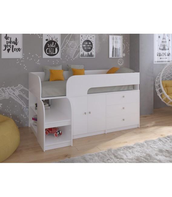 кровать чердак Астра-9-V-1 белый / белый