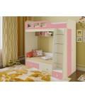 двухъярусная кровать Астра-3 дуб молочный / розовый