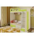 двухъярусная кровать Астра-3 дуб молочный / салатовый