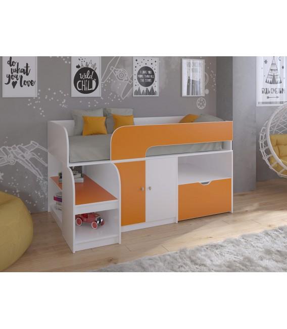 кровать чердак Астра-9/4 белый / оранжевый