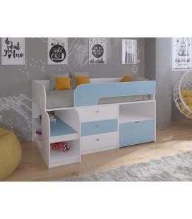 кровать чердак Астра-9-V-5 Белый / Голубой