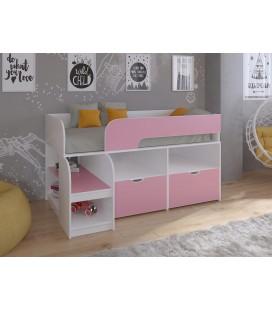 кровать чердак Астра-9-V-6 Белый / Розовый