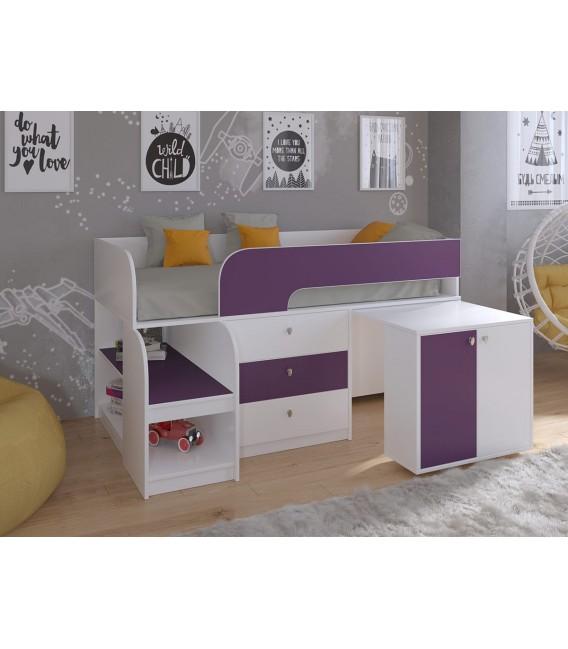 кровать чердак Астра-9-V-7 Белый / Фиолетовый