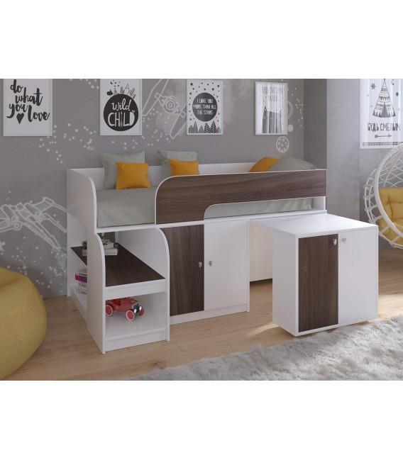 кровать чердак Астра-9-V-8 Белый / Дуб шамони