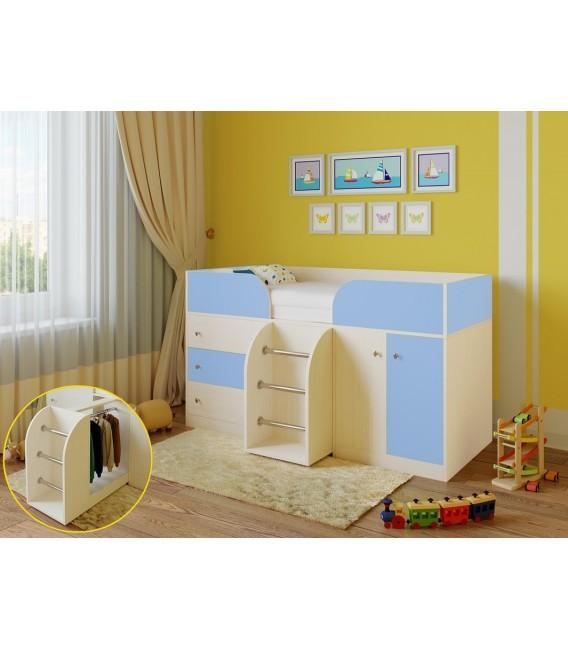 кровать чердак Астра-5 дуб молочный / голубой