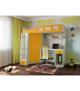 кровать чердак Астра-7 дуб молочный / оранжевый