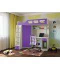 кровать чердак Астра-7 дуб молочный / фиолетовый