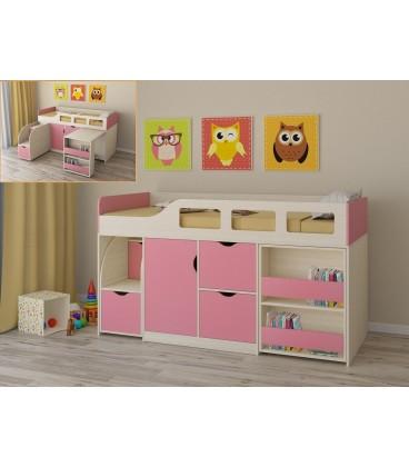 кровать чердак Астра-8 дуб молочный / розовый