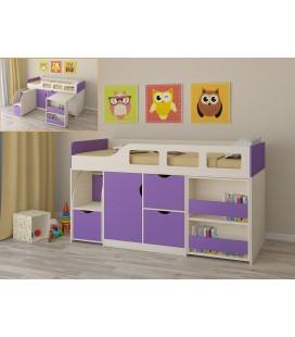 кровать чердак Астра-8 дуб молочный / фиолетовый