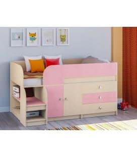 кровать чердак Астра-9-V-1 дуб молочный / розовый