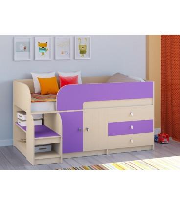 кровать чердак Астра-9-V-1 дуб молочный / фиолетовый