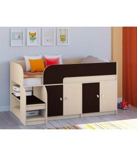 кровать чердак Астра-9-V-2 дуб молочный / венге