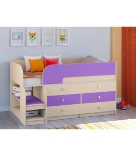 кровать чердак Астра-9-V-3 дуб молочный / фиолетовый