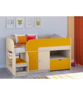 кровать чердак Астра-9-V-4 дуб молочный / оранжевый