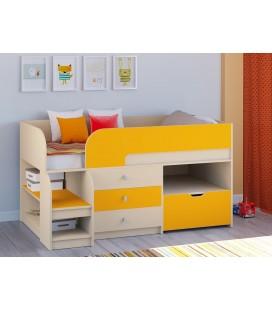 кровать чердак Астра-9-V-5 дуб молочный / оранжевый