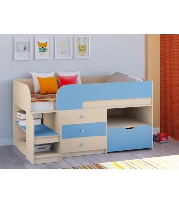 кровать чердак Астра-9-V-5 дуб молочный / голубой
