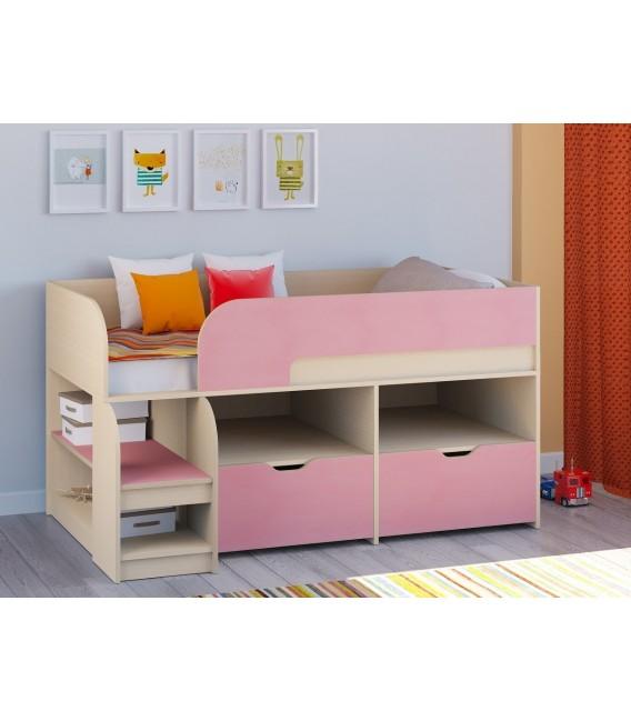 кровать чердак Астра-9-V-6 дуб молочный / розовый