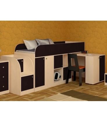 кровать чердак Астра мини дуб молочный / венге
