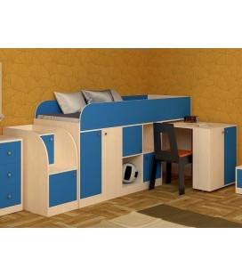 кровать чердак Астра мини дуб молочный / голубой