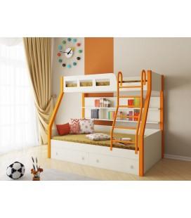 двухъярусная кровать Рио оранжевый / дуб молочный / дуб молочный