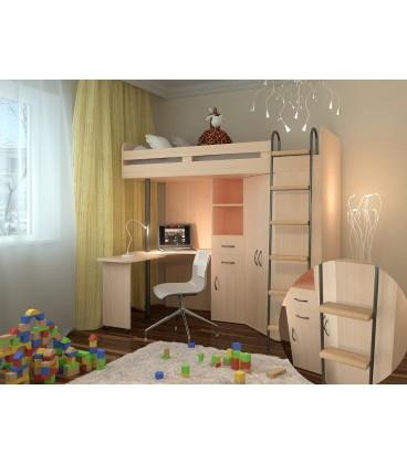 кровать чердак М-85 деревянные ступени , дуб молочный / дуб молочный
