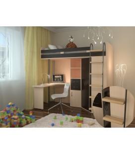 кровать чердак М-85 деревянные ступени , дуб молочный / венге