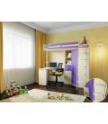 кровать чердак М-85 деревянные ступени , дуб молочный / фиолетовый