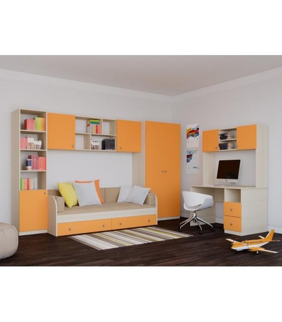 Астра детская комната №1 дуб молочный / оранжевый