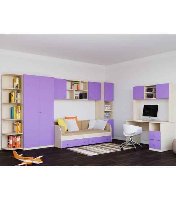 Астра детская комната №4 дуб молочный / фиолетовый