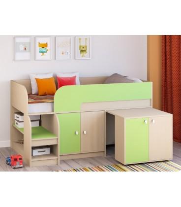 кровать чердак Астра-9-V-8 дуб молочный / салатовый
