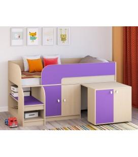 кровать чердак Астра-9-V-8 дуб молочный / фиолетовый