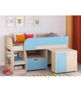 кровать чердак Астра-9-V-9 дуб молочный / голубой
