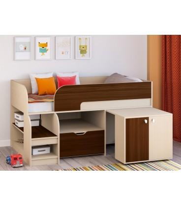 кровать чердак Астра-9-V-9 дуб молочный / орех