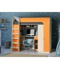 кровать чердак Астра-10 дуб молочный / оранжевый