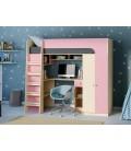 кровать чердак Астра-10 дуб молочный / розовый