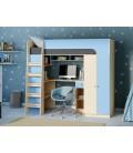 кровать чердак Астра-10 дуб молочный / голубой