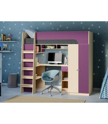 кровать чердак Астра-10 дуб молочный / фиолетовый
