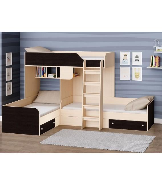 двухъярусная кровать Трио цвет Дуб молочный - Венге