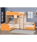 двухъярусная кровать Трио цвет Дуб молочный - Оранжевый