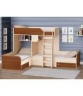 двухъярусная кровать Трио цвет Дуб молочный - Орех