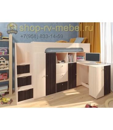 кровать чердак Астра-11 цвет Дуб молочный - Венге