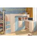 кровать чердак Астра-11 цвет Дуб молочный - Голубой