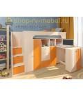кровать чердак Астра-11 цвет Дуб молочный - Оранжевый