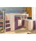 кровать чердак Астра-11 цвет Дуб молочный - Фиолетовый