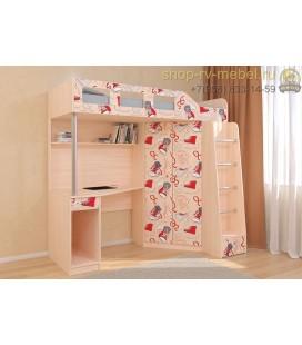 кровать чердак Астра-7 Кеды цвет дуб молочный