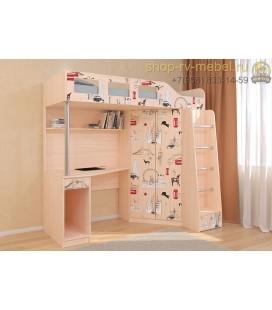кровать чердак Астра-7 Лондон цвет дуб молочный