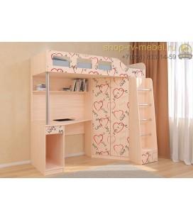 кровать чердак Астра-7 Сердечки цвет дуб молочный