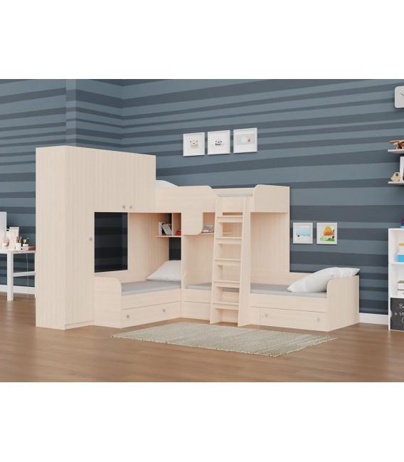 двухъярусная кровать Трио-1 дуб молочный / дуб молочный